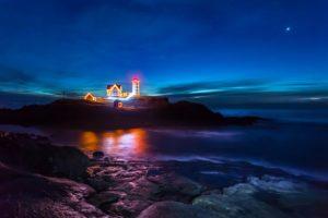 , Blue, Sky, Christmas, Light, Lighthouse, Mirror, Night, Power, Lines, Reflection, Rocks, Sea, Sky, Stars