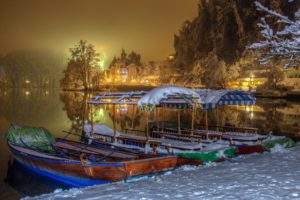 nature, Beach, Bled, Boats, Cool, Houses, Ice, Lake, Landscape, Lights, Night, Season, Slovenia, Snow, Trees, Water, Winter
