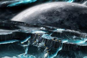 space earth desktop background waterfall fantasy back digital art looking 174012
