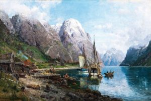 , Artwork, Painting, Classic, Art, Traditional, Art, Anders, Askevold, Norway, Nature, Landscape, Ship, Sailing, Ship, Boat, Mountains, Lake, House, Clouds, People, Snowy, Peak