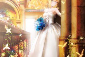 fate, Series, Saber, Flowers, Wedding, Dress, Portrait, Display