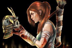 tomb, Raider, 2013, Warriors, Skulls, Helmet, Lara, Croft, Redhead, Girl, Games, Girls, Warrior, Blood, Dark