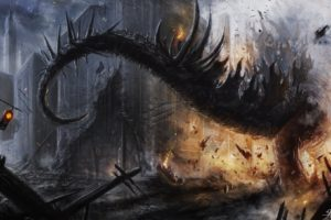 godzilla, Tail, Apocalyptic, Dragon, Dragons, Dinosaur, Sci fi, Dark