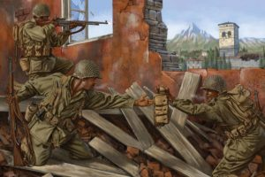 art, War, Battle, Ruins, Browning, Automatic, Soldiers, Military
