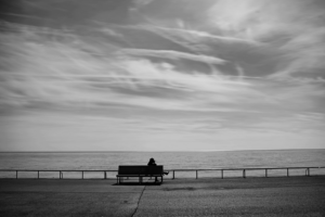 abstract, Beach, Bench, Lonely, Grayscale, Sitting, Photos