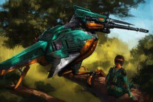 bird, Kingfisher, Robot, Sniper, Girl, Mecha, Gun, Weapon