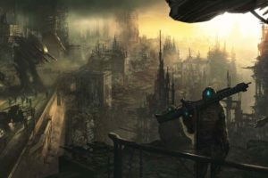 art, City, Army, Robots, Machines, Ruins, Soldiers, Weapons, Apocalyptic, Sci fi, Robot, Dark, Multi, Dual