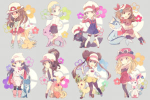 pokemon, Blush, Crystal, Eevee, Espeon, Flareon, Glaceon, Group, Hat, Jolteon, Leafeon, Long, Hair, Pokemon, Ponytail, Skirt, Sylveon, Torute, Twintails, Umbreon, Vaporeon