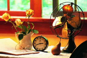 blades, Fan, Desk, Window, Work, Clock, Alarm, Background, Pear, Glasses, Flowers, Pitcher, Roses, Book