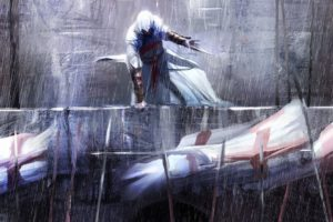 video, Games, Assassins, Creed, Altair, Assassins, Rain, Flags, Fantasy, Art, Artwork, Templar, Hidden, Blade, Altair, Ibn, La, Ahad, Video, Game, Art