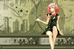 legs, Green, Dress, Flowers, Long, Hair, Buildings, Barefoot, Pink, Hair, Red, Eyes, Skyscrapers, Twintails, Sitting, Black, Dress, Open, Mouth, Redjuice, Anime, Girls, Guilty, Crown, Hair, Ornaments, Collar, Bo