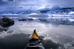 water, Clouds, Nature, Winter, California, Boats, Kayak, Reflections, Mono, Lake