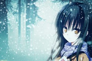 winter, Snow, Trees, Forests, Long, Hair, Outdoors, To, Love, Ru, Yellow, Eyes, Kotegawa, Yui, Scarfs, Golden, Eyes, Anime, Girls, Faces, Photo, Manipulation, Bangs, Black, Hair