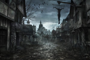 middle ages, Jonasdero, Deviantart, Com, Jonasdero, Dark, Horror, Scary, Creepy, Spooky, Cities, Buildings, Architecture, Cg, Digital art, Paintings, Airbrushing