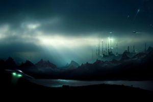 futuristic, Sci fi, Cities, Dark, Cg, Digital art, Spaceships, Spacecrafts, Landscapes, Skies, Alien landscapes