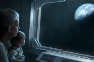 outer, Space, Dark, Futuristic, Baby, Planets, Earth, Spaceships, Science, Fiction, Artwork, Drawings, Window, Panes, Grandmother, Children