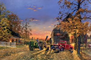 dave barnhouse, Barnhouse, Paintings, Country, Artistic, Farm, Vehicles, Tractor, People, Landscapes, Autumn, Fall, Seasons, Holidays, Thanksgiving