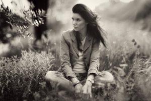women, Nature, Grass, Monochrome, Sitting