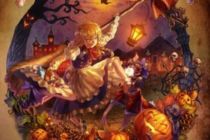 blondes, Skulls, Video, Games, Touhou, Trees, Dress, Undead, Zombies, Leaves, Halloween, Long, Hair, Outdoors, Socks, Buildings, Lanterns, Purple, Hair, Short, Hair, Yellow, Eyes, Brooms, Kaenbyou, Rin, Kirisame