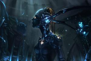 sci fi, Tech, Mech, Mecha, Robots, Cyborg, Neon, Lights, Dark, Women, Females, Girls, Sexy, Sensual, Cg, Digital, Artistic, Art, Eyes
