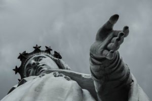photography, Statue, Monument, Gothic, Religion, Sky, Skies, Clouds, People, Hands, Metal, Bronze, Artistic