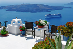 greece, Balcony, Architecture, Buildings, Flowers, Plants, Furniture, View, Scenic, Panoramic, Island, Water, Ocean, Sea, Vehicles, Ships, Boat, Cruise, Photography, Place, Tropical