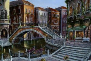 robert, Finale, Venician, Venice, Italy, Art, Detail, Palce, Architecture, Cities, Buildings, Bridges, Sidewalk, Stairs, Rivers, Canal, Water, Way, Colors, Painting, Scenic