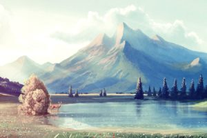 water, Mountains, Landscapes, Nature, Artwork