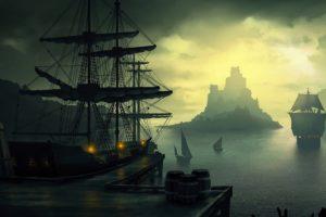 water, Sunset, Mountains, Ocean, Clouds, Ships, Piers, Digital, Art, Harbor, Port, Sails, Barrels, Skies, Caravel, Sea