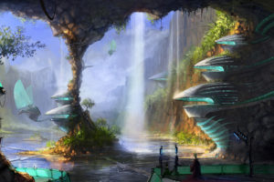 sci, Fi, Science, Fiction, Fantasy, Surreal, Art, Artistic, Paintings, Cg, Digital, Architecture, Cities, Buildings, Futuristic, Vehicles, Machines, Mech, Flight, Fly, Waterfalls, Landscapes, Rivers, Lakes, Natur