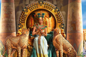 cleopatra, Vii, Philopator, Pharaoh, Ancient, Egypt, Ptolemaic, Dynasty, Egyptian, Animals, Cats, Cheetah, Throne, Color, Detail, Jewelry, Gold, Architecture, Buildings, Dress, Gown, Queen, Fantasy, Spots, Women,