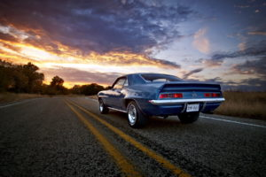 1969, Chevy, Camaro, Ss, Vehicles, Auto, Chevrolet, Retro, Classic, Muscle, Wheels, Roads, Sunset, Sunrise, Sky, Clouds, Trees, Chrome, Stripes