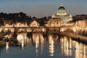 san, Pietro, Tiber, St, Peter, Rome, Italy, World, Cities, Architecture, Building, Cathedrals, Church, Buildings, Bridges, Rivers, Water, Reflection, Glisten, Shine, Night, Lights, Sky, Scenic, Bright