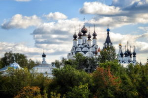 annunciation, And, Trinity, Monastery, Cathedral, Church, Religion, Spires, Sky, Clouds, Buildings, Trees, Autumn, Fall