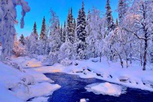 water, Winter, River, Snow, Landscape