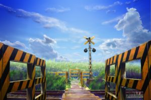 clouds, Railroad, Tracks, Drawings, Anime, Railroads