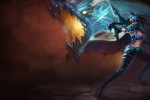 horns, League, Of, Legends, Artwork, Dragoon, Shyvana