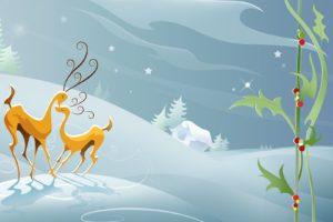 snow, Animals, Christmas, Digital, Art, Artwork, Reindeer