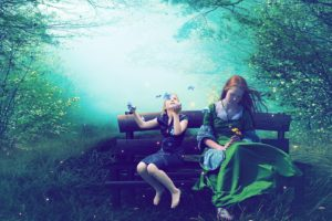 cg, Digital, Art, Manip, Fantasy, Dream, Magic, Trees, Forest, Soft, Mood, Butterfly, Girl, Children, Women, Happy, Joy
