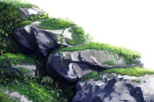 rocks, Scenic, Drawings, Anime, Anime, Girls