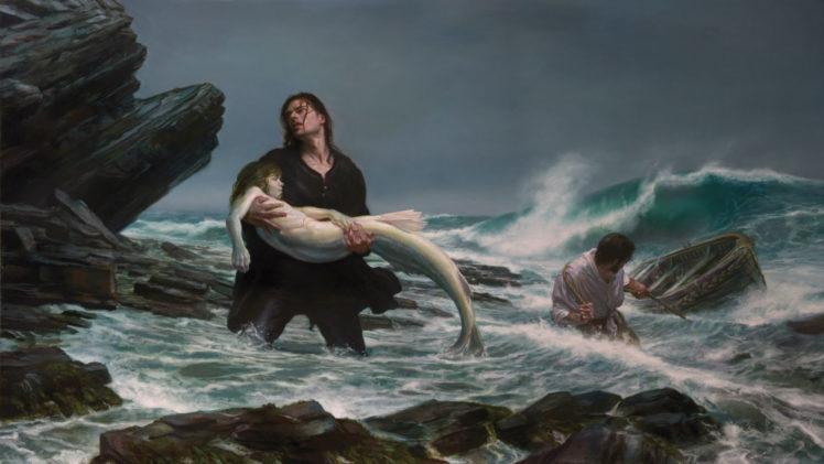 fantasy, Art, Mermaids, Storm, Waves, Beaches, Mood, Sad, Sorrow, Love, Art, Dark HD Wallpaper Desktop Background