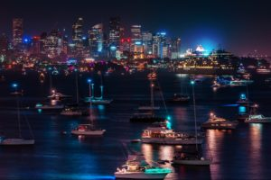 skyline, Cityscape, Night, Lights, Hdr, Harbor, Bay, Water, Reflection, Architecture, Buildings, Skyscrapers, Boats, Ships