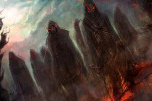 dark, Horror, Evil, Fantasy, Art, Demons, Hell, Skeletons, Skulls, Eyes, Glow, Fire, Chains, Halloween