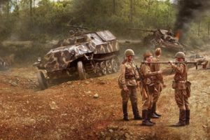 soldier, Military, Tank, Tanks, Weapon, Artwork, Painting, Battle