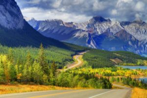 abraham, Lake, Banff, Alberta, Canada, Sky, Mountain, Lake, Forest, Trees, Autumn, Road, Sky, Clouds, Clouds