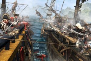 , Assassins, Creed, 4, Black, Flag, Game, Battle, Ship