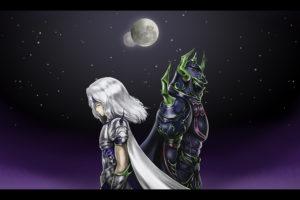 final, Fantasy, Iv, Fantasy, Art, Girls, Warrior, Sky, Stars, Moon, Night
