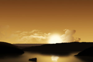 multi, Monitor, Dual, Screen, Landscapes, Lakes, Cg, Digital, Art, Sky, Clouds