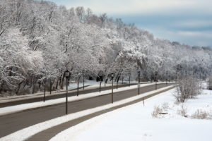 nature, Landscapes, Winter, Snow, Trees, Roads, Lamp, Post, Sky, Clouds