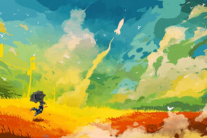 umbrella, Rocket, Field, Abstract, Drawing, Fantasy, Color, Sc fi, Birds, Landscapes